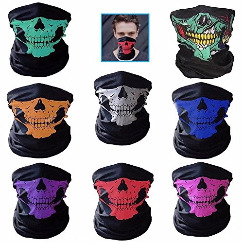 JahyShow 8 Pack Motorcycle Face Mask Breathable Skull Dustproof Face Mask (James Bond Girl Costumes Halloween)