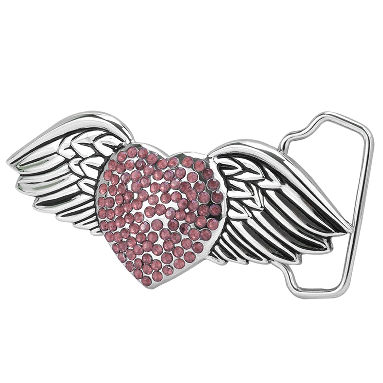 Buckle Rage Adult Women's Sexy Angel Wings Heart Shaped Gem Stones Belt Buckle