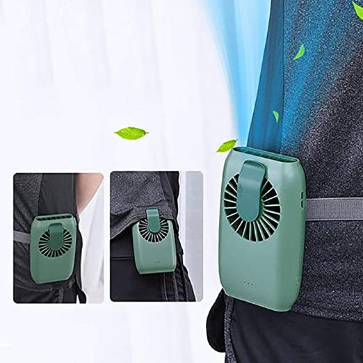 Amazon Com Mini Waist Clip On Fan Waist Cooling Fan Portable Hands Free Necklace And Wrist Fan With 15h Working Time 3 Speeds Mode And Usb Rechargeable Battery Operated For Home Office Outdoor Travel Green Kitchen Dining