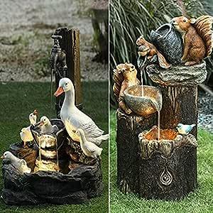 Solar Power Willapa Resin Duck Family Patio Fountain Garden Decoration Outdoor Landscape Garden Design (Both Duck and Squirrel)