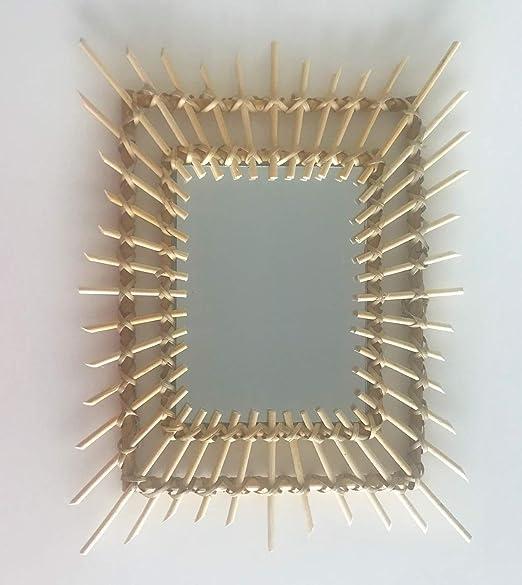 40X30 cm BYP Accessories Espejo bamb/ú Pared Cuadrado rat/án decoraci/ón