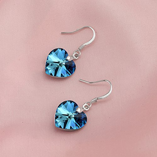 LUVAMI Swarovski Crystal Blue Heart White Gold Plated Drop Dangle French Hook Earrings by LUVAMI (Image #4)