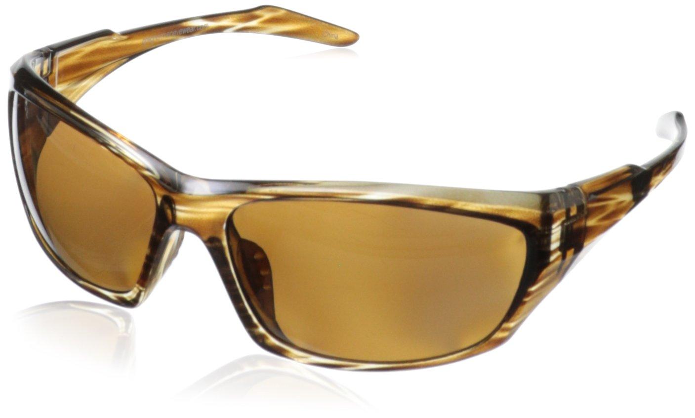 Greg Norman G4608 Polarized Sport Soft Rectangle Melanin Sunglasses,Brown Stripe, 68 mm