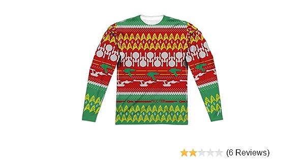 Star Trek Kirk UGLY CHRISTMAS SWEATER PRINT 2-Sided Long Sleeve Poly T-Shirt