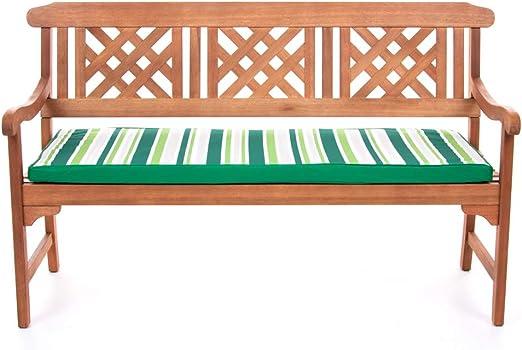 Cojines para bancos exteriores - Cojines rellenos con fibras para bancos – Cojines coloridos impermeables para bancos de jardín de PEBBLE® (128x50x5cm, Azul Marino): Amazon.es: Jardín