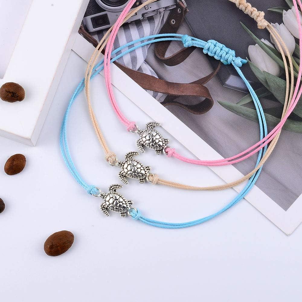 SUNSH 6pcs Handmade Rope Turtle//Paw Print Charm Bracelets for Women Teens Girls Kids Woven Colorful Adjustable Friendship