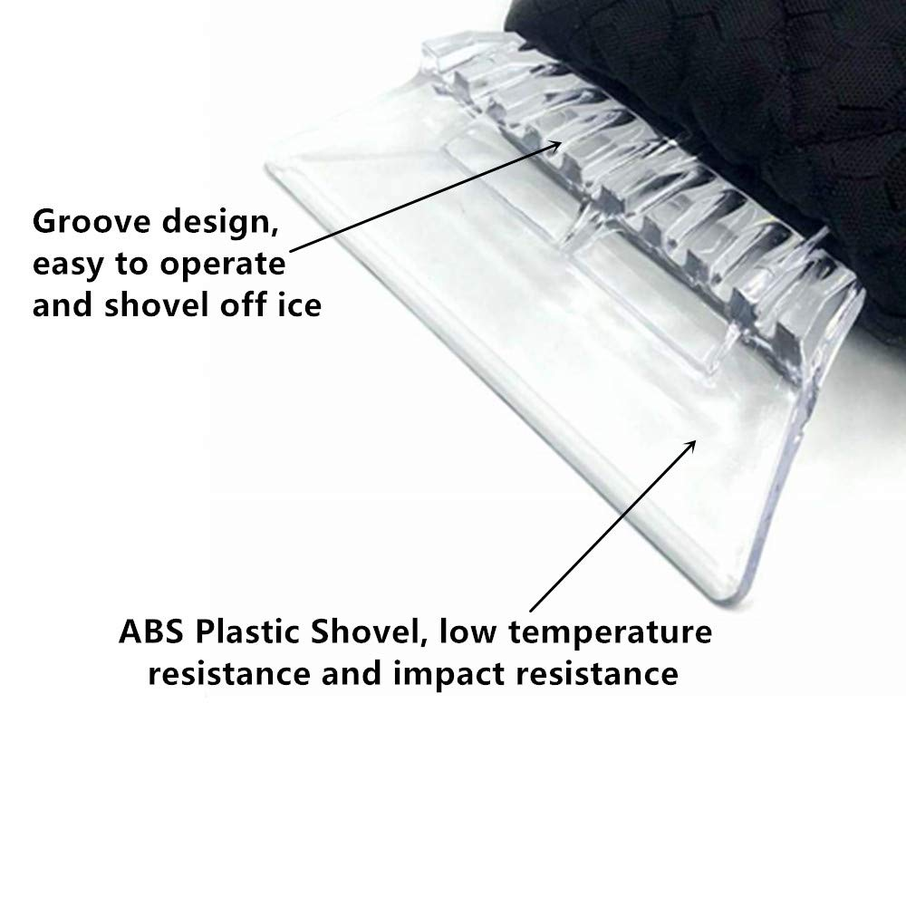 Eshall Ice Scraper Mitt Snow Scraper with Warm Waterproof Glove Lined with Plush Black