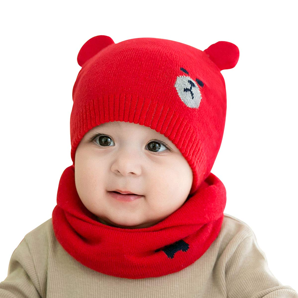 cjixnji Baby Boy Girl Cute Baby Winter Hats Scarfs Set, Children Toddler Warm Beanie Hat Knit Soft Cotton Caps Scarves for Infant Kids 0-36 Months Children Toddler Warm Beanie Hat Knit Soft Cotton Caps Scarves Infant Kids 0-36 Months (Beige)