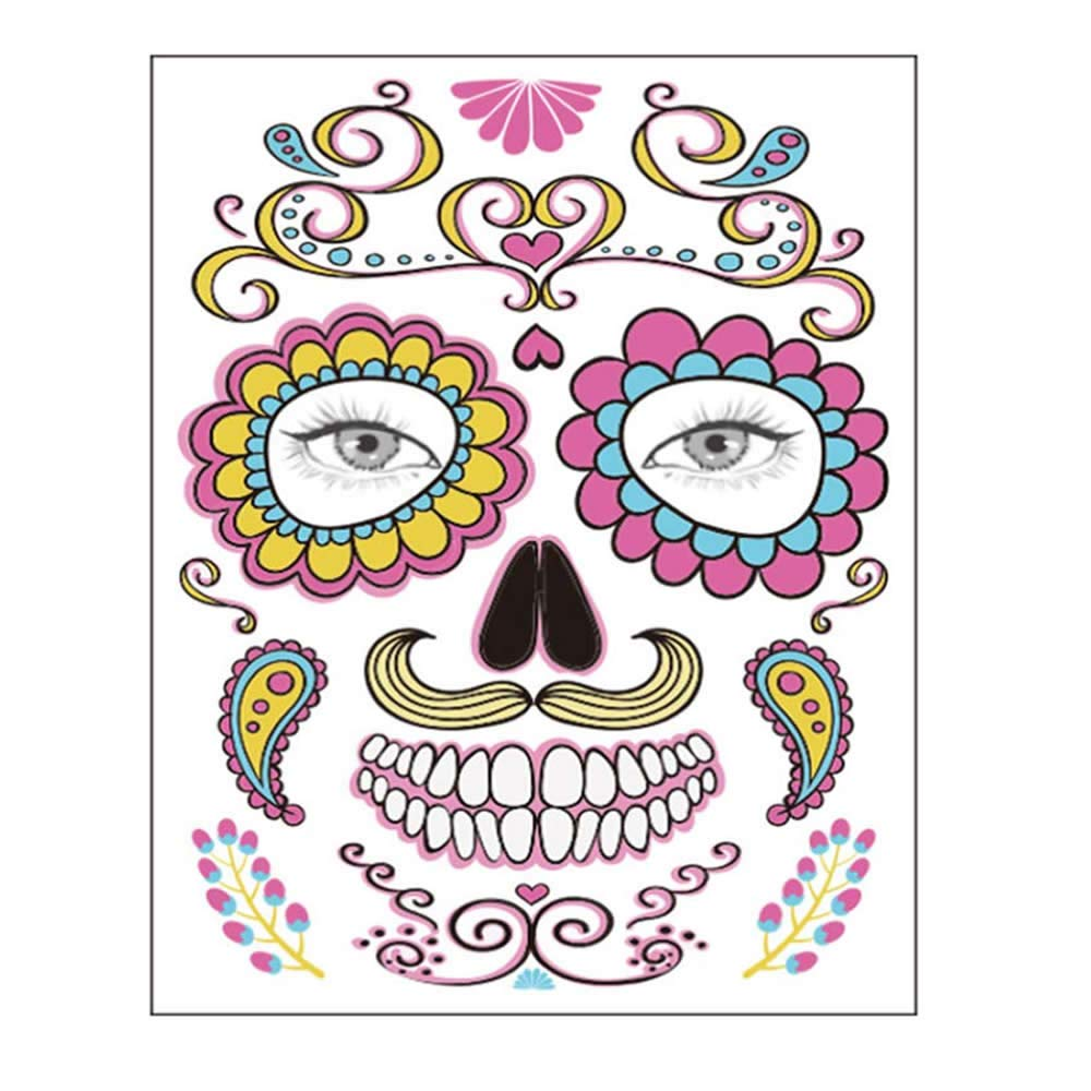 Temporary Face Tattoo, 8 Kits Tattoos Sugar Skull Stickers Day of The Dead Makeup, Face Tattoo Rose Design for Halloween, Masquerade and Parties (Face stickers)