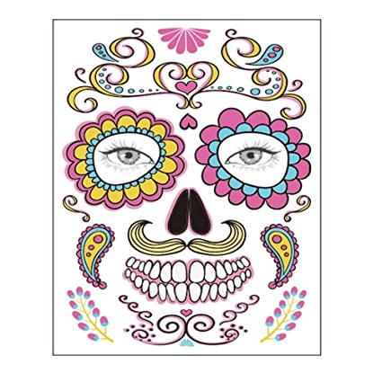 kungfu Mall 6pcs Halloween Face Temporary Tattoos Tattoos Sugar Skull Stickers Day of The Dead Makeup Face Tattoo Rose Design for Women Men Adult Kids Halloween Party Favor Supplies