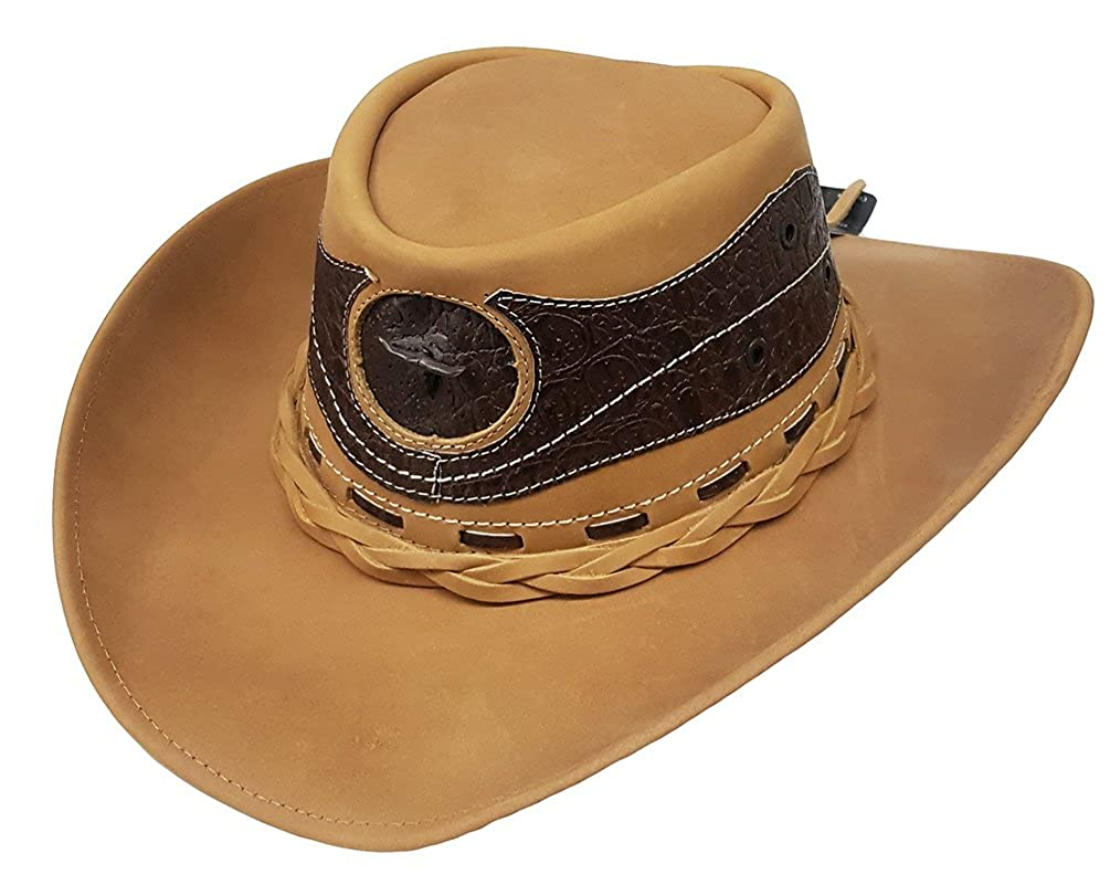 Modestone Unisex Leather Cowboy Hat Leather Crocodile Skin Pattern Applique  Tan at Amazon Men s Clothing store  b487f62249d