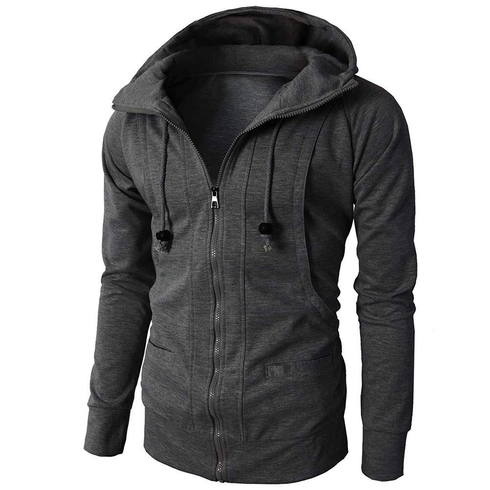 Men's Pullover, Slim Hooded Sweatshirt Warm Zipper Jacket (Dark Gray, 3XL)