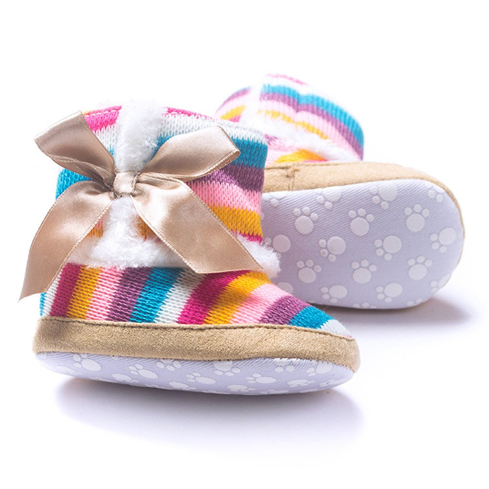 Huangou Baby Girl Rainbow Soft Sole Snow Boots Soft Winter Infant Prewalker Toddler Snow Boots