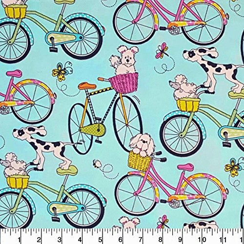 (Flannel Beach Cruiser Dogs Fabric Sold by the Yard)