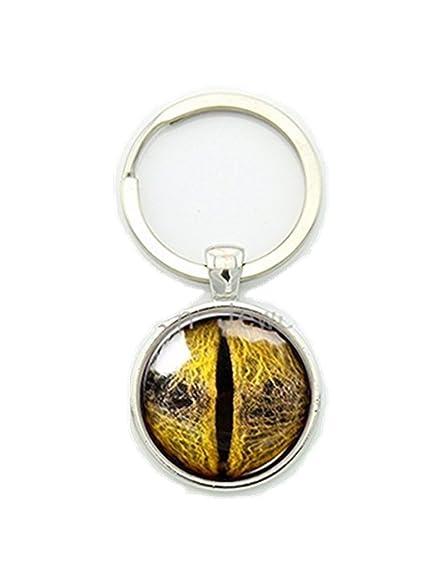 Amazon.com: Diseño Ojos Llavero Animal amarillo dorado ojos ...