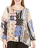 Democracy Women's Plus Size Bell Sleeve Lace up Front East West Hem Top – Wedgewood Blue-Toast, 1X