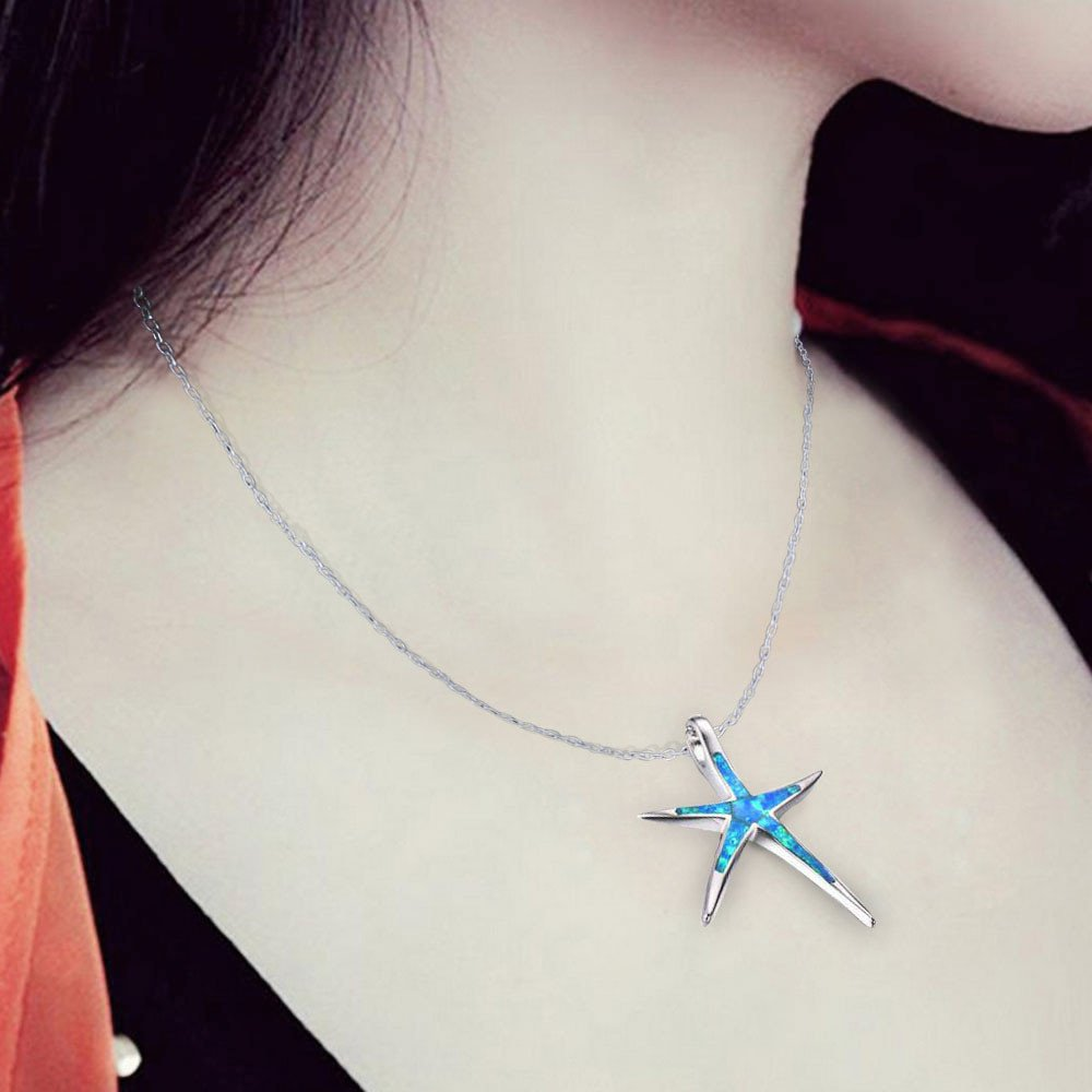 Fashion Necklace, Hoshell Women Sterling Silver Cute Star Fish Pendant Sweater Copper Necklace Jewelry Ornament