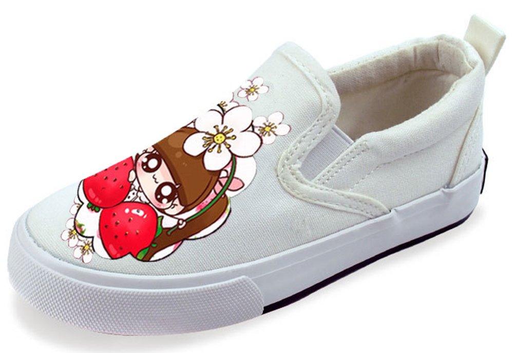 VECJUNIA Girl's Casual Cartoon Lowtop Elastic Slip-On Fabric Flats Shoes (White3, 2 M US Little Kid)