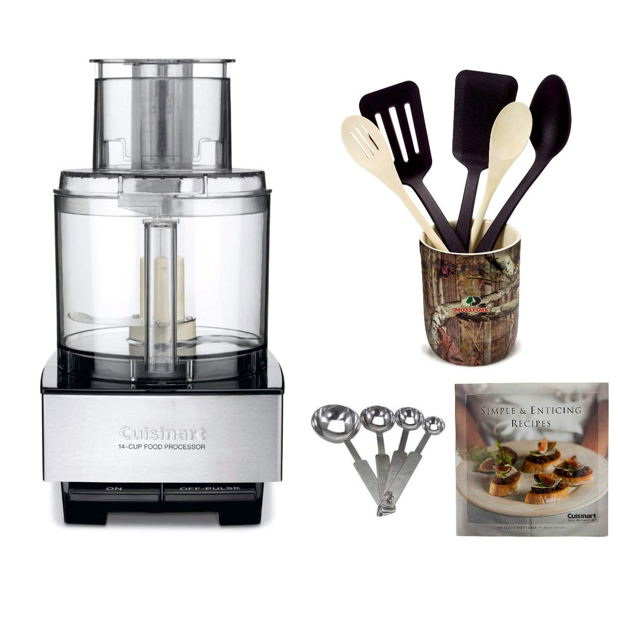 Cuisinart DFP-14BCNY 14-Cup Food Processor, Brushed Stainless Steel Includes 6 Piece Crock Set, Stainless Steal Measuring Spoons and Cookbooks