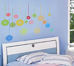 BIBITIME Lines Hanging Colorful Pattern Wall Decal Geometry Bohemia Round Circle Flower Vinyl Sticker for Couple Bedroom Nursery Classroom Kids Room Decor