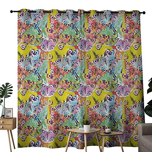(NUOMANAN Curtains for Living Room Butterfly,Colorful Butterflies an Assortment of Different Patterns Abstract Animal Image,Multicolor,Complete Darkness, Noise Reducing Curtain 54