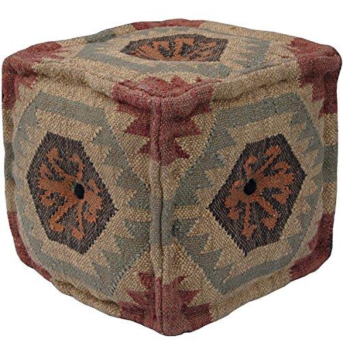 Indo Handmade Wool Jute Puff (India)