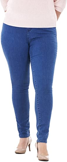 Ladies Plus Size 16-32 New Stretch Denim Faded Blue Jegging Pull On Jeans Womens