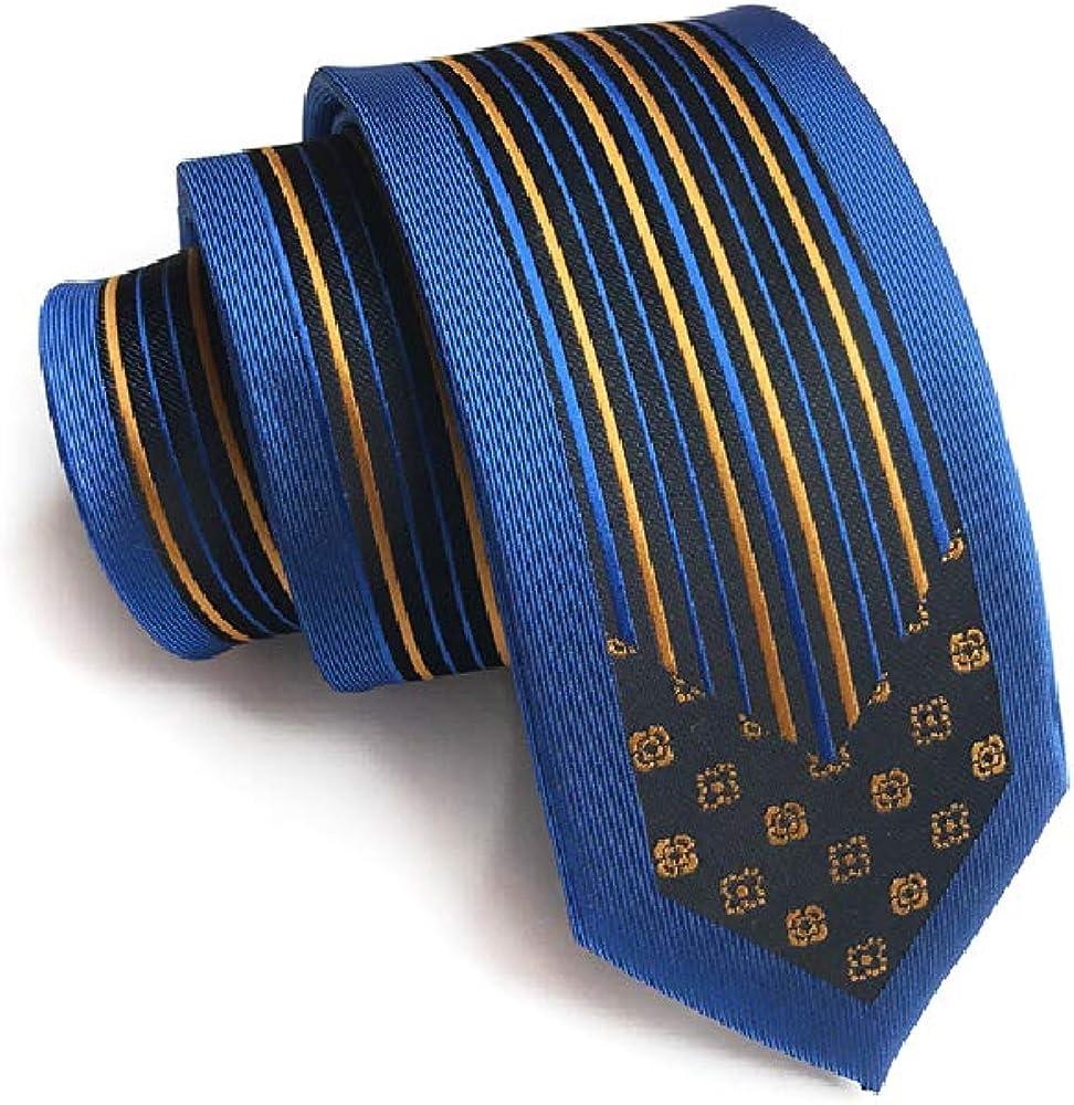 Chris Vu Modisch schmal geschnittene Krawatte mit modernem goldenem Muster und blauem Rahmen