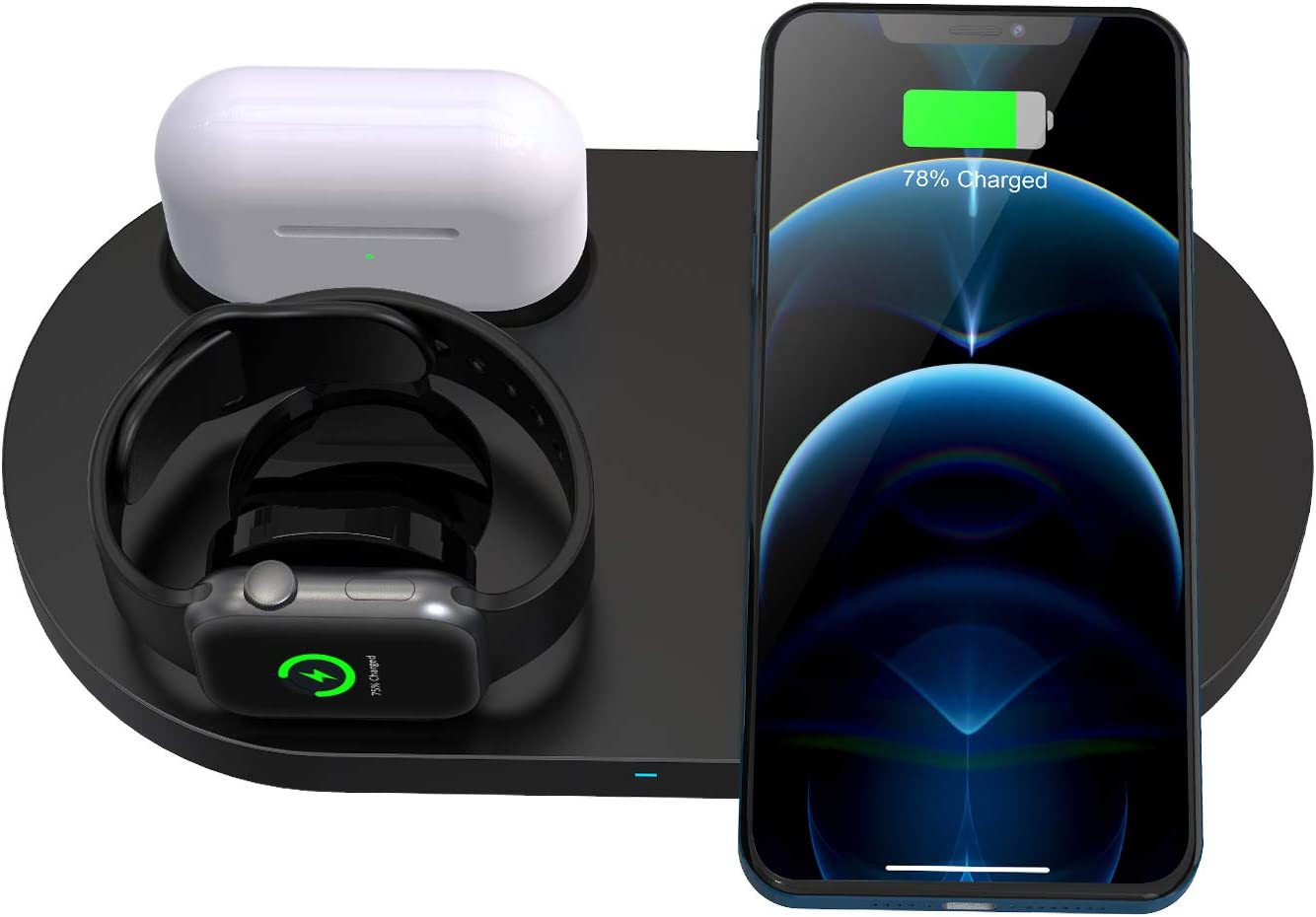 Wireless Charger, 3 in 1 Wireless Charging Station,Wireless Charging Stand for iPhone 12/12 Pro/12 Pro Max/12 mini/11/11 Pro/SE/X/XR/iWatch 6/5/4/3/2/Airpods 1/2/Pro,Fast Qi-Certified Charging pad.