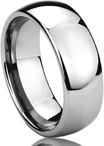 Wedding Bands Classic Bands Domed Bands Stainless Steel 8mm Brushed Band Size 10