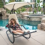 Belleze Rocker Chaise Hanging Sun Canopy Patio Chair Outdoor Backyard Rocking Lounge Shade w/Pillows Cushions, White