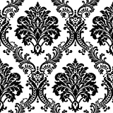 "HaokHome 1074 Damask Flocking Textured Wallpaper Roll Black White Modern Home Room Decoration 20.8"" x 393.7"""