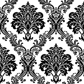HaokHome 1074 Damask Flocking Textured Wallpaper Roll Black White Modern Home Room Decoration 208 X