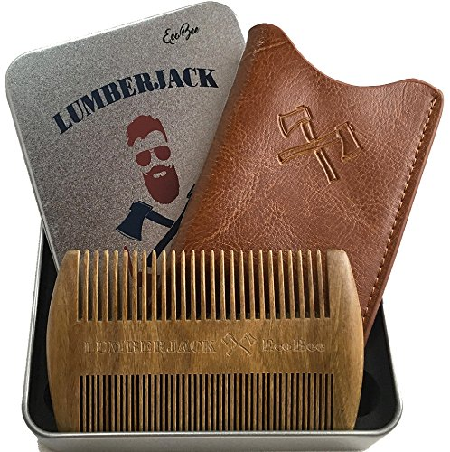 Beard Comb Dual Action, Gifts for men - Sandalwood Comb for beard & Real leather pouch, Pocket size, Fine - Coarse Teeth, Antistatic wood comb, Perfect for Beard Oils & Balms