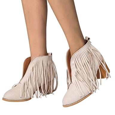 332e78dad0c77 Amazon.com: Cenglings Women Pointed Toe Flock Tassel Ankle Boots ...