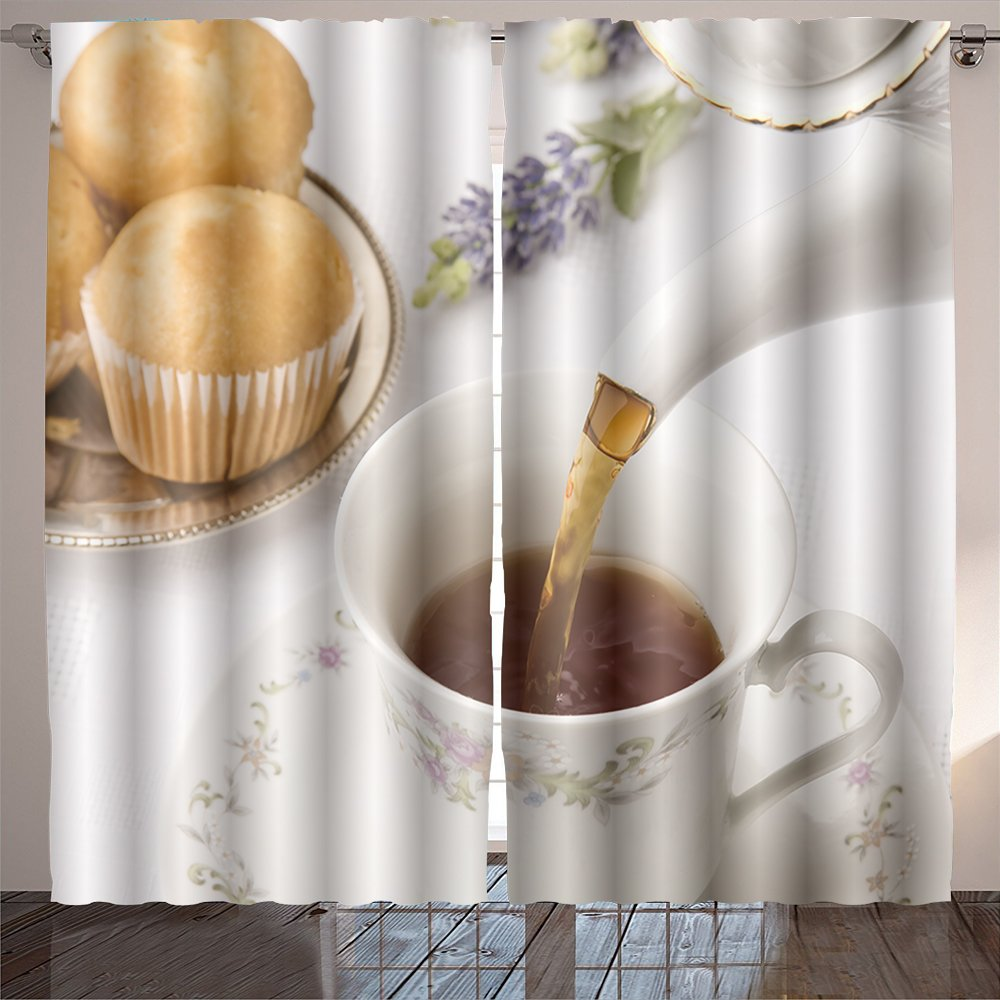 Nalahome teapot close up pouring tea into a cup focus on pouring Digital Printed Blackout Window Curtains 84x108 inches