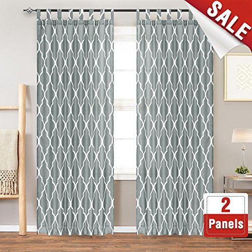 Quatrefoil Printed Curtain Panels for Living Room Moroccan Tile Print Canvas Lattice Waterproof Tab Top Window Curtains for Bedroom 84 Inches Long, 2 Panels, Charcoal -