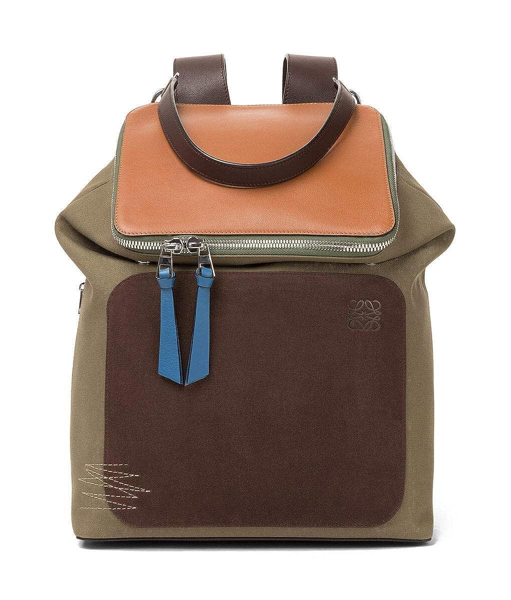 (ロエベ) LOEWE バッグ リュック ゴヤ バックパック チョコ茶色カーキ緑タン (並行輸入品) One Size Choc Brown/Khaki Green/Tan B07H2X1X1Z