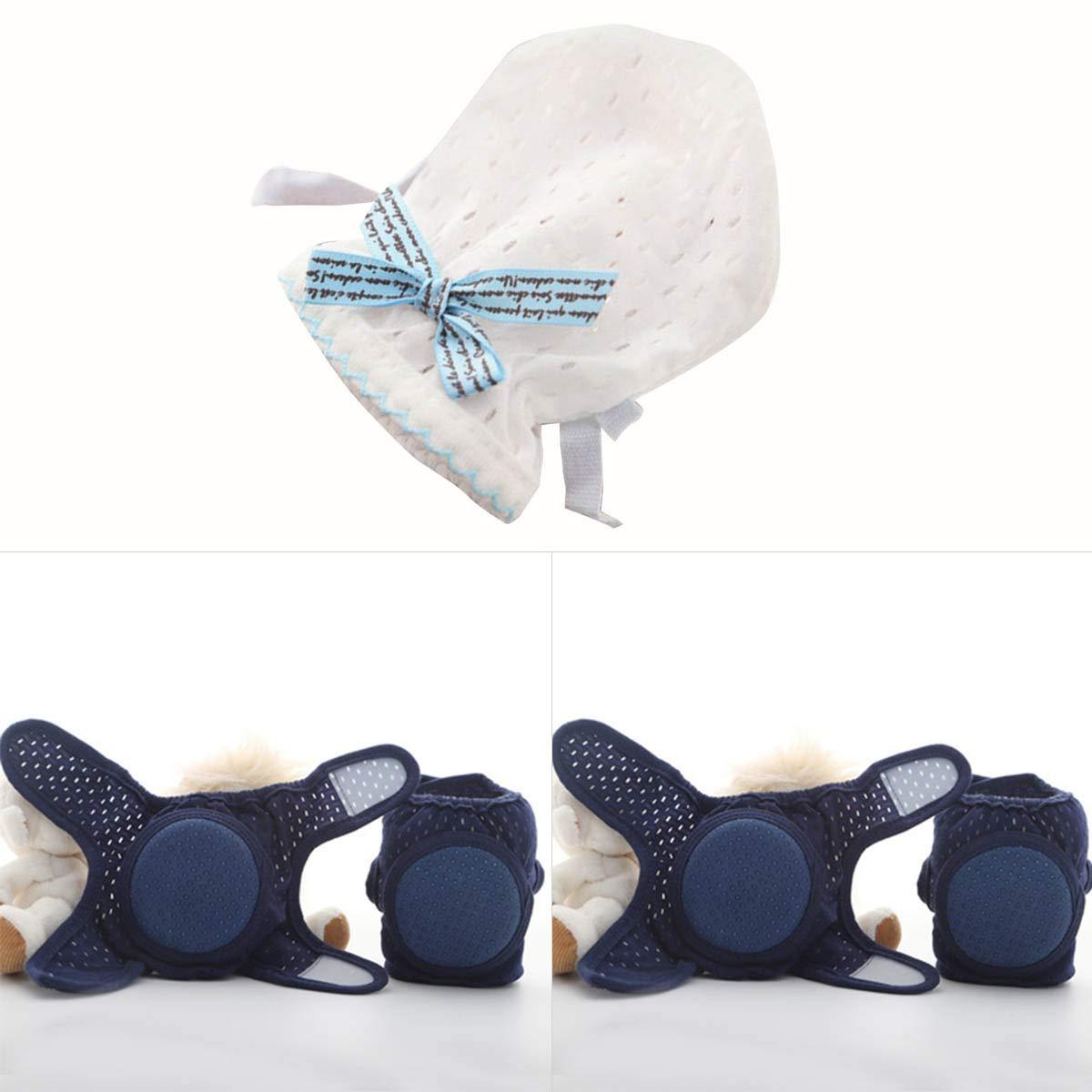 Anti-Kratz- Anti-Rutsch- Color : Blau verstellbare Kleinkinder-Kordelzug Atmungsaktive Knieschoner und Handschuhe zum Krabbeln beim Gehen Haokaini Baby Kniesch/ützer und F/äustlinge