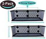 Premium Magnetic Locker Organizer Locker Pencil Holder Magnetic Marker Holder Locker Basket Magnetic Basket for Fridge and Whiteboard -7.8'' Wide-6 Strong Magnets-Set of 2-Black