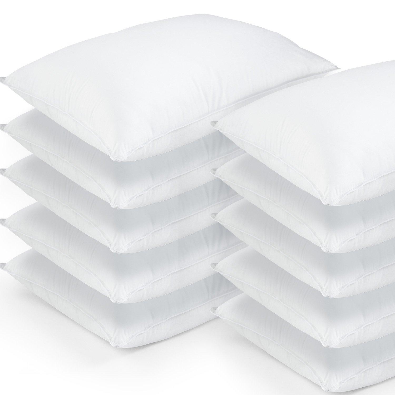 10 Pack Hotel Style Hypoallergenic Down Alternative Value Pillow - Medium/ Firm Density - Jumbo 20'' x 28'' - Sham Stuffer - Great Deal