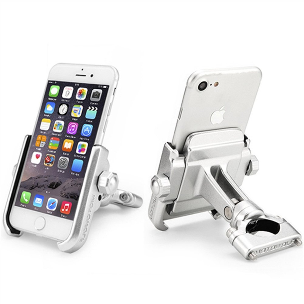 ILM Motorcycle Phone Mount Premium Aluminum Universal Bike Handlebar Holder Fits iPhone X, 7 | 7 Plus, 8 | 8 Plus, iPhone 6s | 6s Plus, Galaxy S7, S6, S5, Holds Phones Up To 3.7'' Wide (SILVER) by ILM (Image #1)