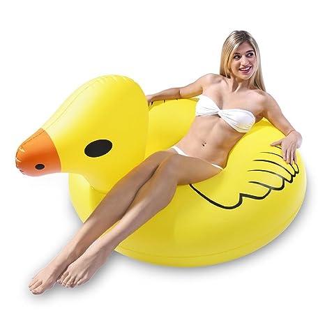 Gigante inflable pato manejable verano anillo, calidad y gran tamaño juguete del PVC del flotador
