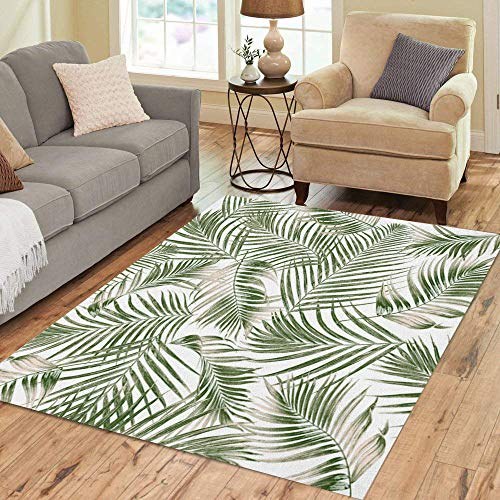 - Pinbeam Area Rug Pattern Green Leaves of Palm Tree on Leaf Home Decor Floor Rug 3' x 5' Carpet