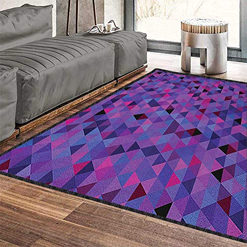 """Eggplant Graceful Area Rug,Small Triangles Froming an Abstract Mosaic Pattern Geometric Shapes Modern Art Environmental Protection Fabric Multicolor 79""""x118"""""""