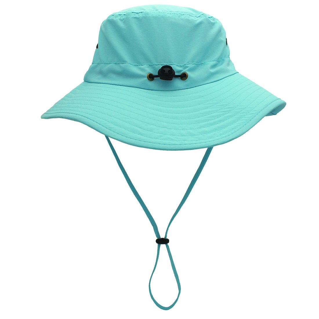 LLmoway Outdoor UPF50+ Summer Sun Cap Lightweight Packable Dry Fit Bora Boonie Hat with Cords AQU by LLmoway (Image #3)