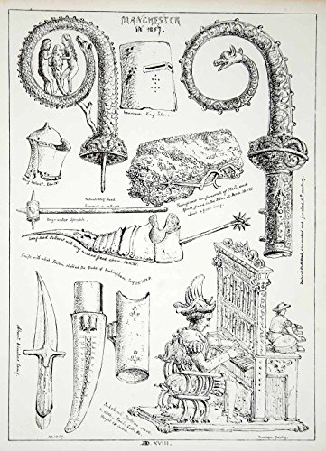 1857 Lithograph Penelope Gresley Art Helm Medieval Knight Dagger Sabaton ZZ2 - Original Lithograph by PeriodPaper...