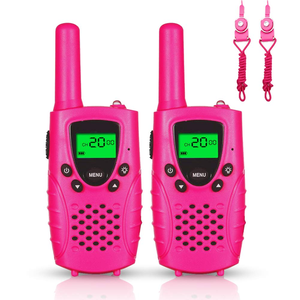 FAYOGOO Kids Walkie Talkies, 22-Channel FRS/GMRS Radio, 4-Mile Range Two Way Radios with Flashlight and LCD Screen, and Toys for 3-12 Year Old Boys and Girls (Pink-Cute) by FAYOGOO