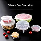 BUYERZONE WITH BZ LOGO Microwave Safe Silicone Stretch Lids Flexible Covers for Rectangle, Round, Square Bowls, Dishes, Plates, Cans, Jars, Glassware and Mugs (Free Size) - Set of 6