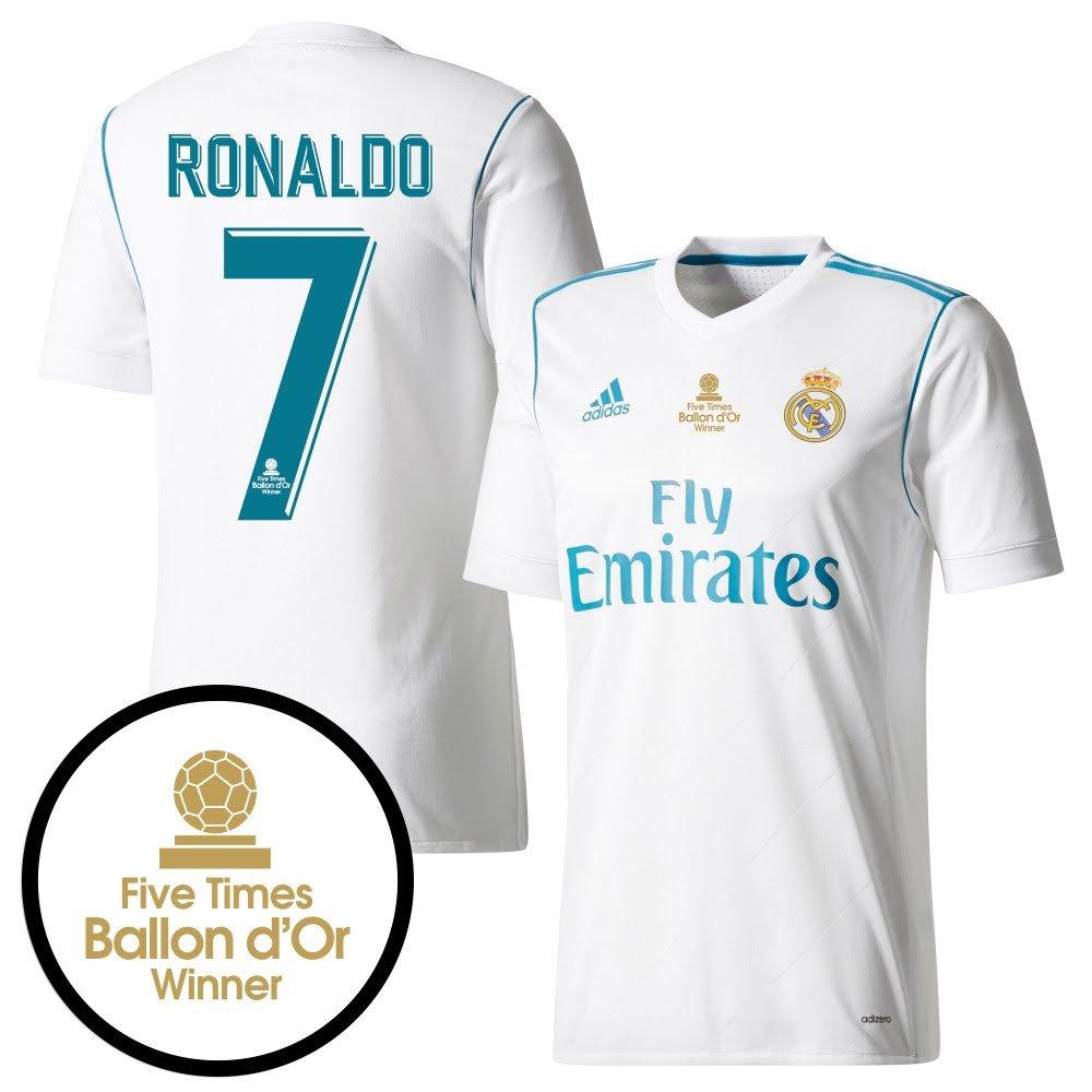 Real Madrid Home Authentic Trikot 2017 2018 inc Ronaldo 7 & Druck (5x Ballon d'Or Beflockung)